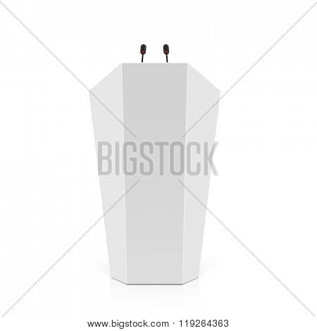 White rostrum, podium, tribune with microphones. Vector.