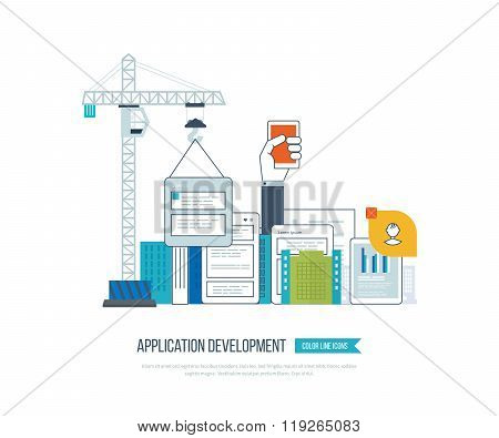 Application development concept  for e-business, mobile applications, banners