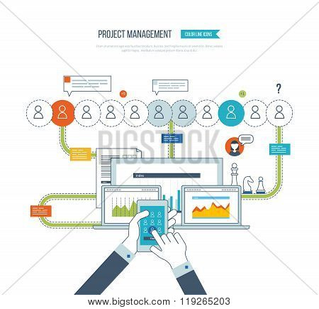 Concept for business analysis, consulting, strategy planning, project management