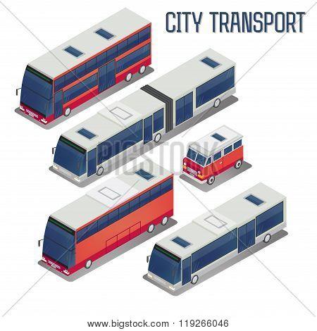 Isometric City Transportation Bus Set
