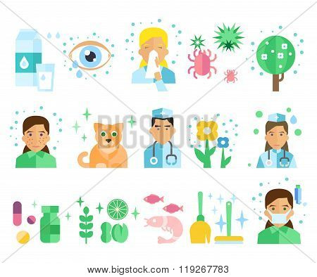 Allergy Vector Illustration Set.