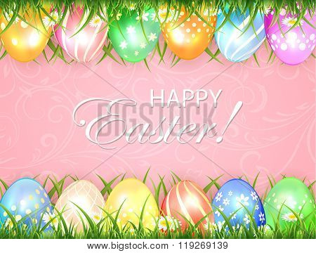 Pink Easter Background With Eggs In Grass
