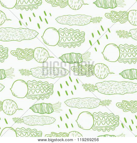 Fun beetroot and radish seamless vector pattern