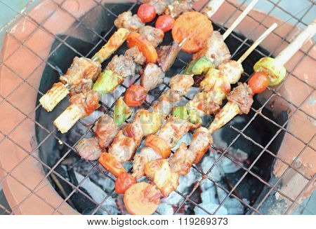 Bar-B-Q or BBQ with kebab cooking