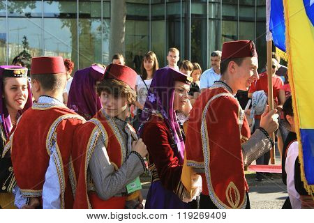 Novi Sad, Sebia: 4. October 2015. Folklore group from Bosnia dressed in traditional clothing