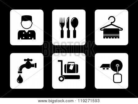 hotel icons on black background