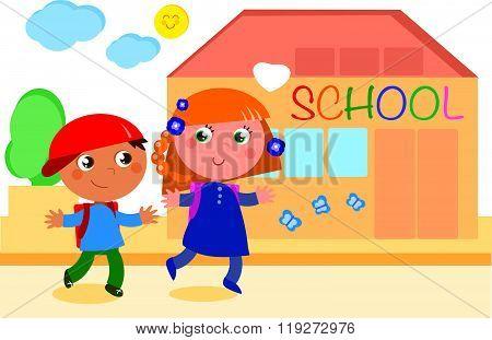Pupils going to school