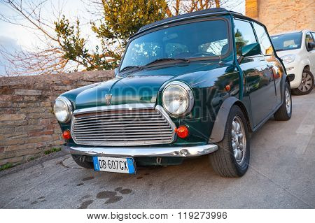 Dark Green Austin Mini Cooper Mk Iii Closeup