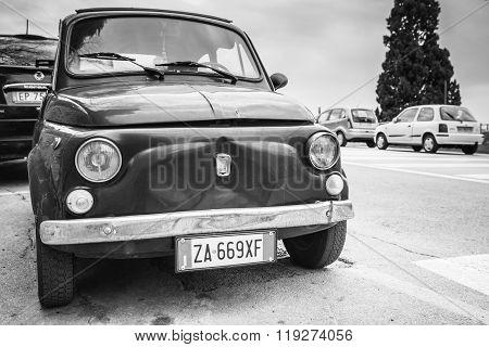 Old Fiat Nuova 500 City Car, Monochrome