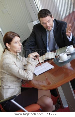 Discussion, Business Man And Woman Talking In The Office
