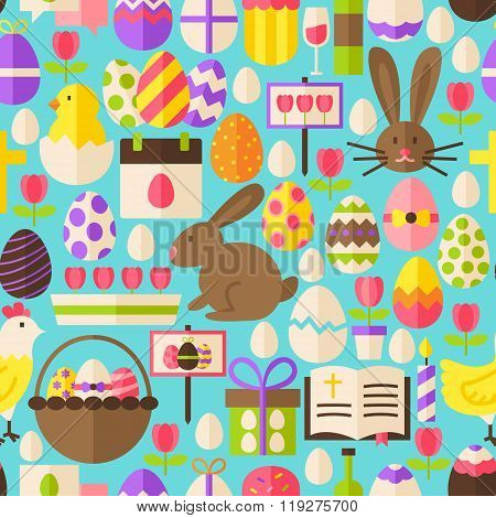 Happy Easter Vector Flat Design Blue Seamless Pattern