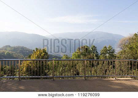 Handrail Of Balcony With Mountain View