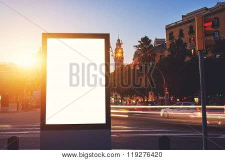Clear poster in urban scene
