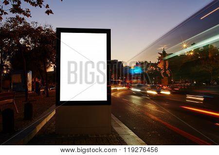 Promotional mock up in urban scene empty poster on roadside
