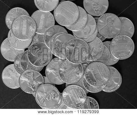 Black And White Dollar Coins 1 Cent Wheat Penny