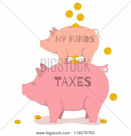 Two money pigs with coins