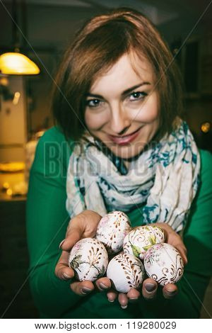Cheerful Young Woman Enjoying The Easter Eggs, Spring Celebration