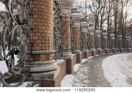 Fence Of The Mikhailovsky Garden In The Temple Of Savior On Spilled Blood, St. Petersburg