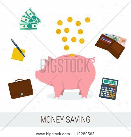 Concept money saving flat illustration