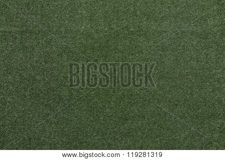Speckled Textured Monochrome Background From Fabric Of Dark Green Color
