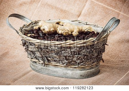 Dried Rosehips And Ginger Arranged In The Wicker Tin Basket, Healthy Lifestyle