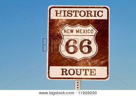 Historic grunge looking route 66 sign in new mexico