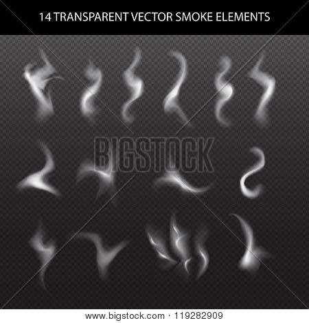 design element: set of white smoke on transparent black background, white smoke on black background,