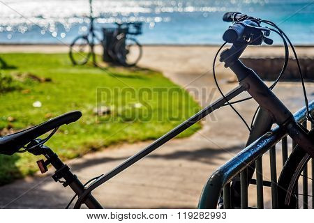 Bicycle on a rack