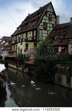 Buildings And Canal In Colmar