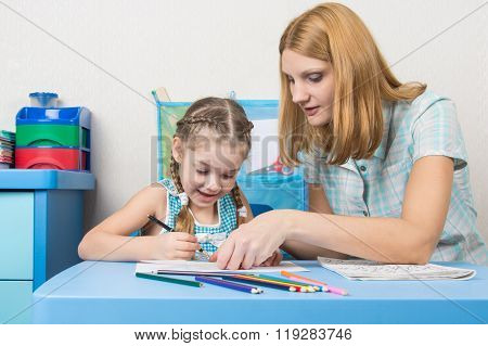 Girl And Mother Fun In A Notebook Draw