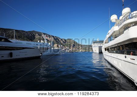 Different Boats In Port Of Monte Carlo