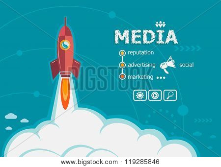 Media And Concept Background With Rocket.