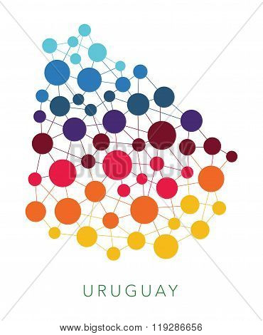 dotted texture Uruguay vector background