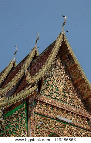 Sculpture On Buddhism Temple Gable