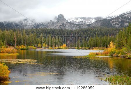 Lake Mamie landscape on a rainy day in California near Mammoth lakes