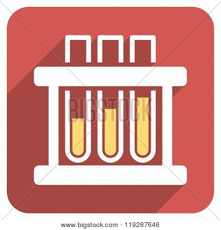 Test Tubes Flat Rounded Square Icon with Long Shadow