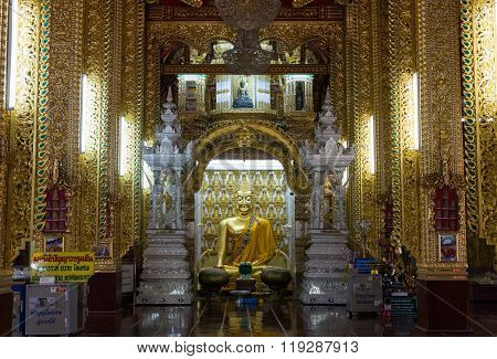 Golden Buddha Statue On Buddhism Church Temple