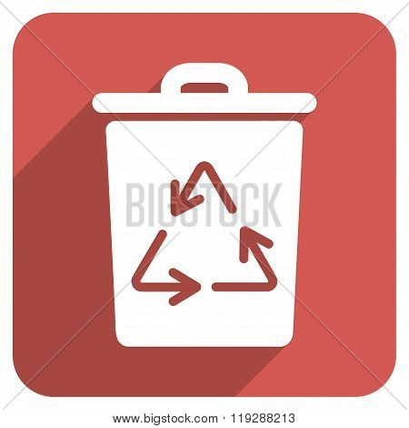 Trash Can Flat Rounded Square Icon with Long Shadow