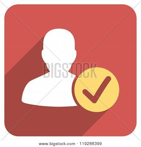 Valid User Flat Rounded Square Icon with Long Shadow