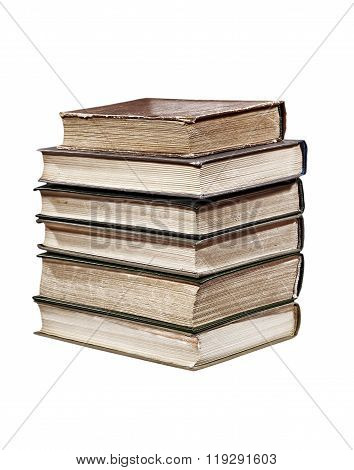 Pile Of Books Isolated On White.