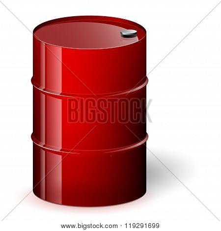 Red barrel vector illustration.