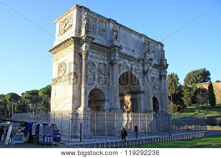 Rome, Italy - December 21, 2012: Arch Of Constantine Next To The Roman Coliseum, Rome, Italy