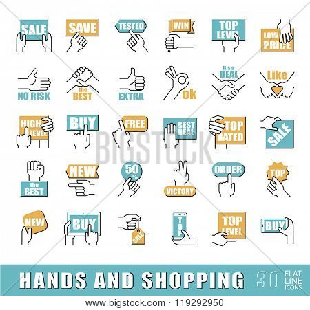 Hands holding messages. Hand gestures. Set of flat line hand and shopping icons. Premium quality outline symbol collection. Flat line icons set.