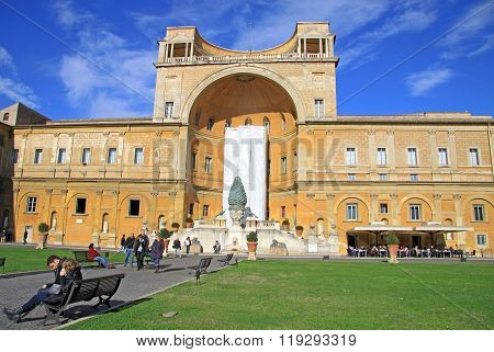 Vatican, Rome, Italy - December 20, 2012: Apostolic Palace, Facade Of The Belvedere Courtyard (corti