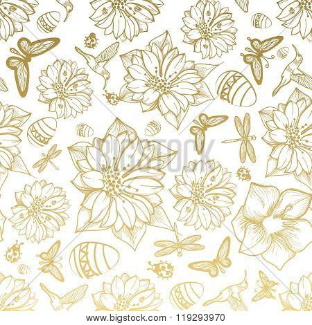 Seamless pattern flowers, egg, butterflies