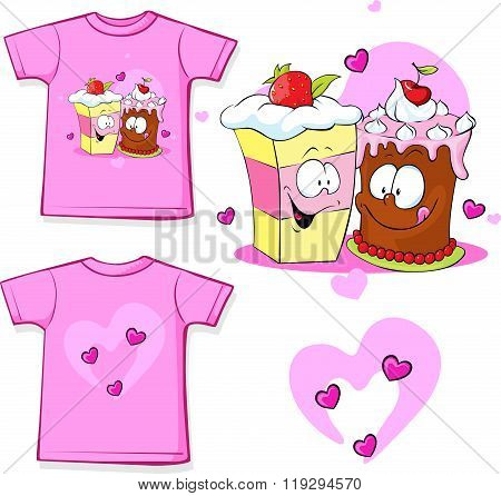 Cute Shirt With Funny Cake - Vector Illustration