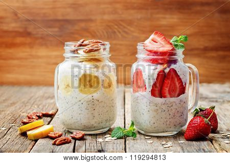 Homemade Healthy Chia Seeds Banana Pecan And Strawberry Overnight Oatmeal In Jars