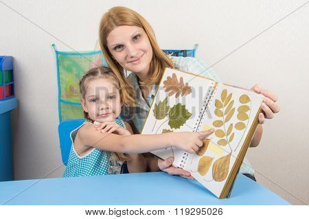 Five-year Girl And Mother Examining Herbarium Shows On One Of The Sheets In The Album, And Looked In