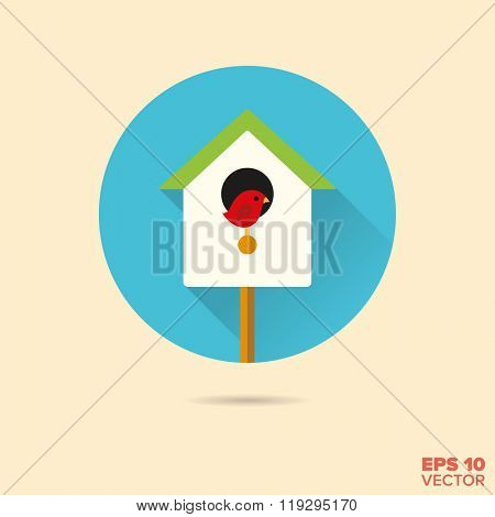 birdhouse with robin flat design vector icon