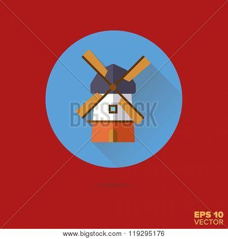 dutch windmill flat design vector icon